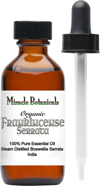 Miracle Botanicals Organic Frankincense Essential Oil - 100% Pure Boswellia Serrata - Therapeutic Grade - India - 60ml/2oz