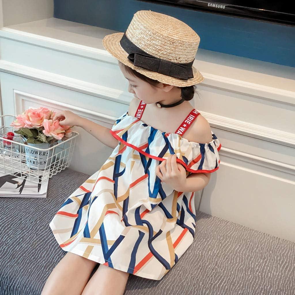 Newmao Infant Girls Summer Off Shoulder Print Ruffled Casual Beach Party Dress