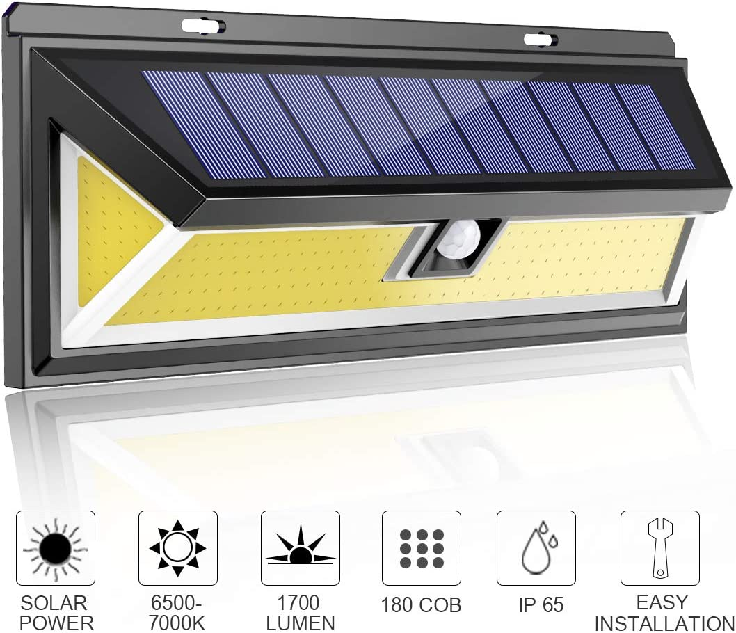 MODAR 180 COB Outdoor Solar Lights Motion Sensor, Bright Wall Lights, 3 Optional Lighting Modes, Large Solar Panel, 120° Sensing Angle, Weatherproof, Outdoor Lights for Garden, Driveway, Pathway (Big)