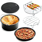 (2017 Upgrade) Air Fryer Accessories Deep Fryer Gowise Phillips Avalon Bay and More, 5-pieces Air Fryer Baking Pan Skewer Rack Barrel Silicone Mat Set Fit all 3.7QT &5.3QT & 5.8QT