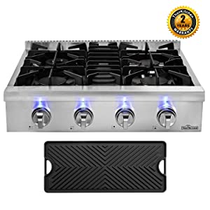 Thor Kitchen 30'' Gas Cooktop with 4 Sealed Burners in Stainless Steel, Flat Cast-iron Grates, Cast-Iron Reversible Griddle, HRT3004U