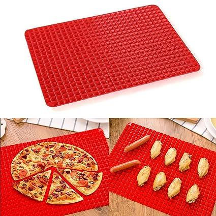 xuanle Barbecue Pad Red Pyramid Pan Non resistente al calor de Stick silicona para el microondas