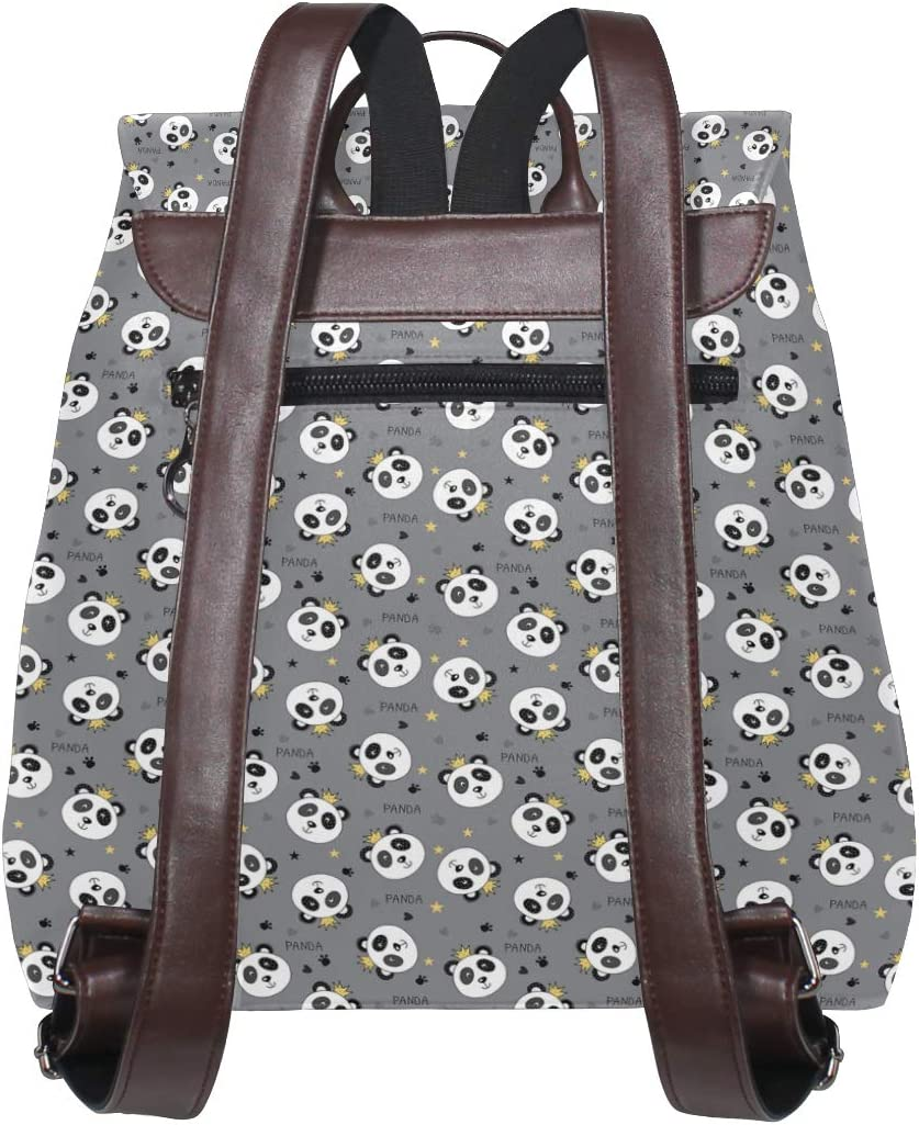 Leather Panda Bear King Gray Backpack Daypack Bag Women