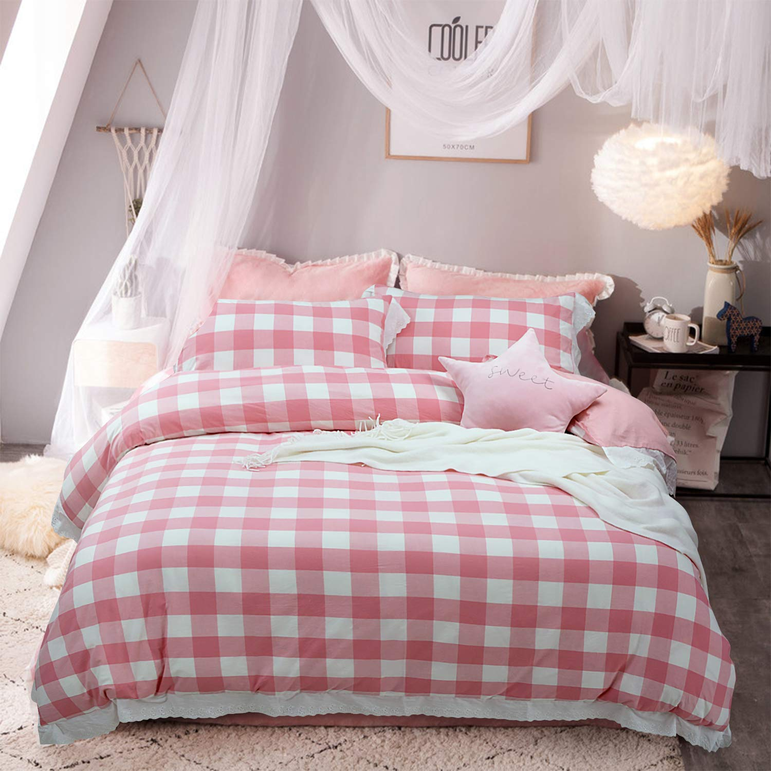 Softta Vintage Ruffle Buffalo Plaid Bedding Set 3 pcs 100% Pure Natural Yarn Dyed Washed Cotton 1 Duvet Cover + 2 Pillowcases Check Pattern White and Pink Queen Size