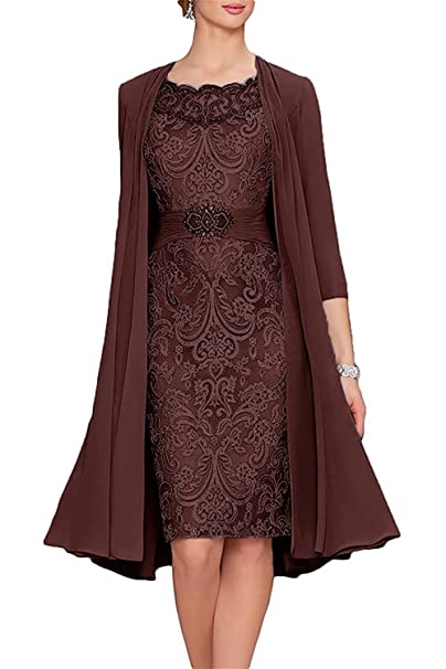 649232509c4 APXPF Women s Tea Length Mother of The Bride Dresses Two Pieces with Jacket   Amazon.ca  Clothing   Accessories