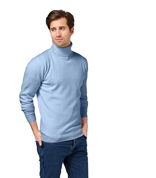 Amazon.com: WoolOvers Mens Lambswool Turtle Neck Sweater Pale Blue ...
