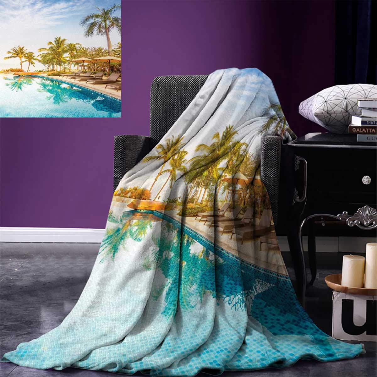 smallbeefly Landscape Digital Printing Blanket Aerial View A Pool in A Health Resort Spa Hotel Exotic Sports Modern Photo Summer Quilt Comforter 80''x60'' Multi