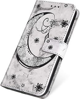 SainCat Cover Compatibile con iPhone X/XS Custodia Portafoglio Pelle Marmo con Motivo della Luna Antiurto Book Styke Funzione di Staffa Flip Leather Case-Blu