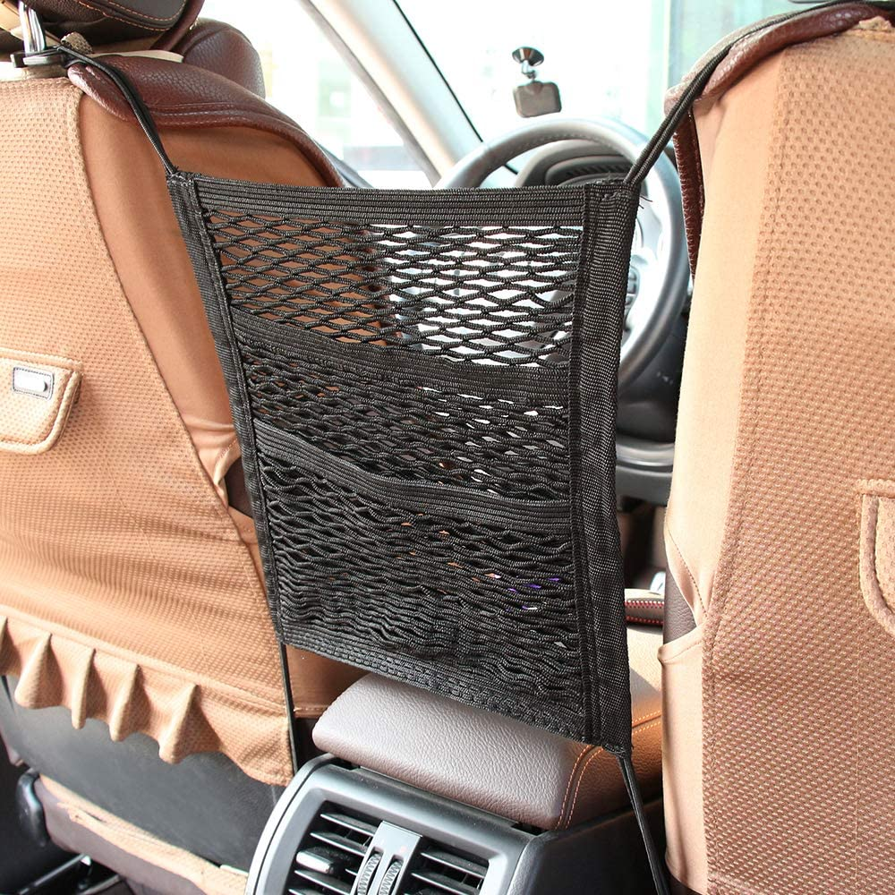 Back Seat Elastic Cargo String Net Pouch Holder Luggage Kids Pets Barrier 3 Lays Car Seat Storage Mesh