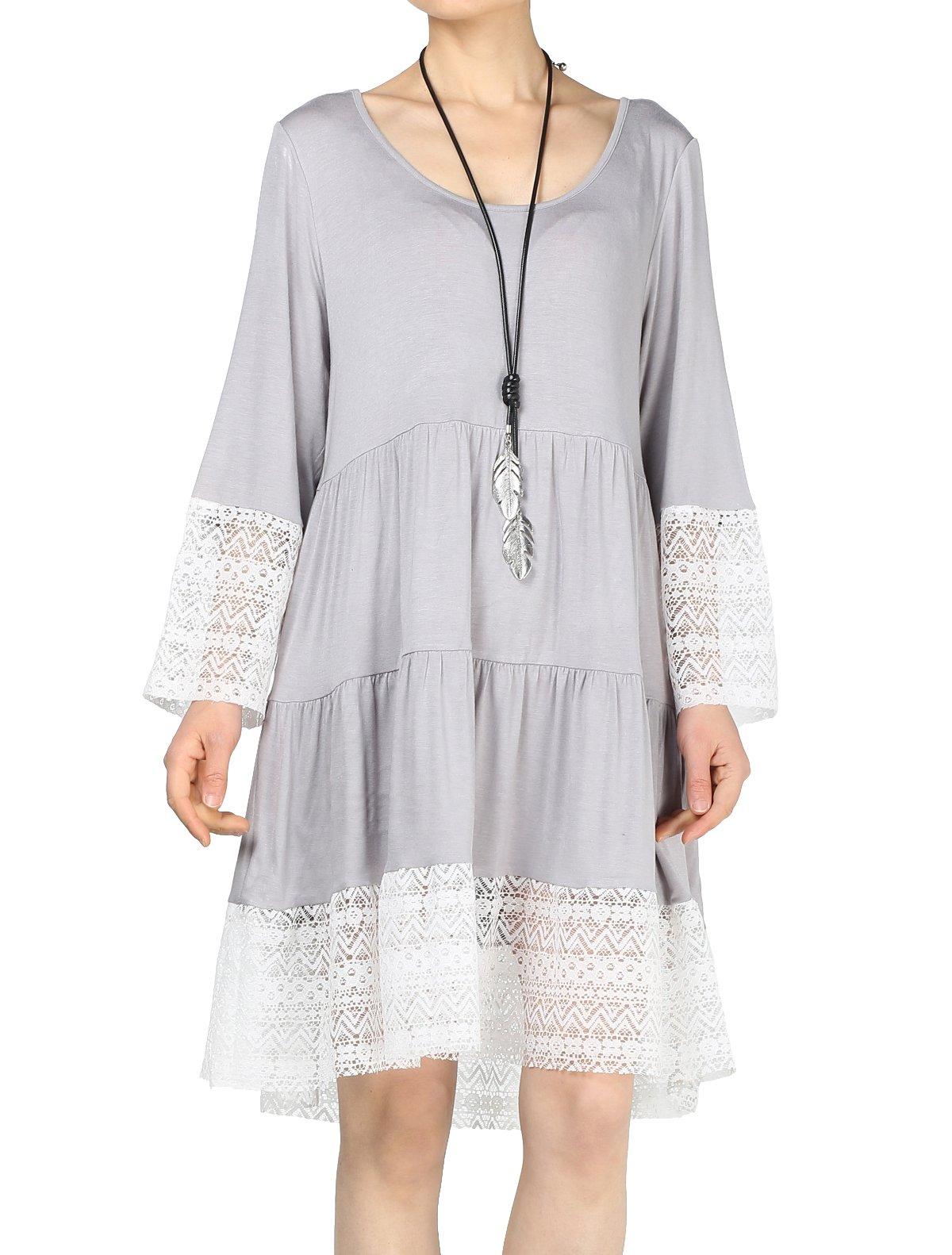 Mordenmiss Women's Flared Tunics Dress Lace Trim Boho Shirts with Side Pockets XL Light Gray