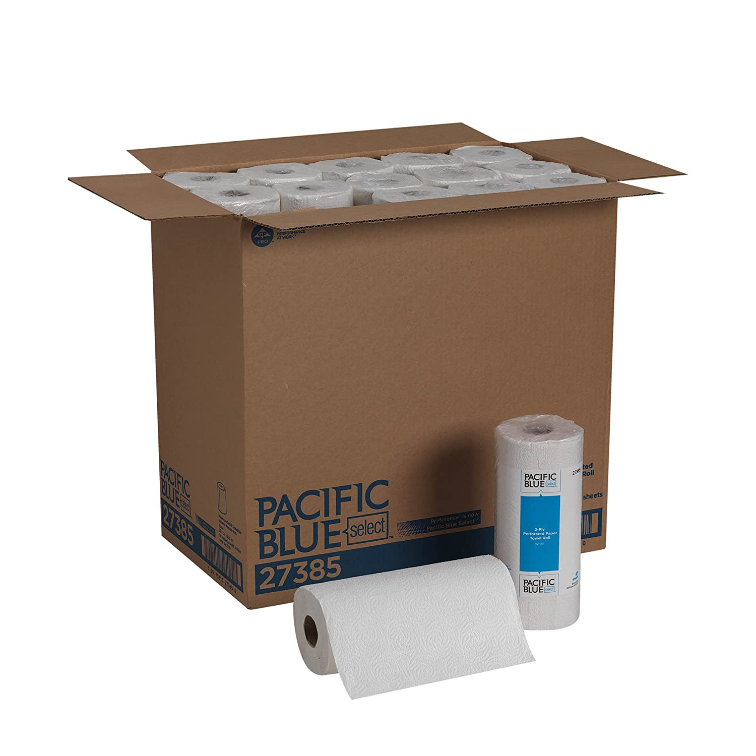Pacific Blue Select 2-Ply Perforated Paper Towel Roll (Previously Preference) by GP PRO, White, 27385, 85 Sheets Per Roll, 30 Rolls Per Case