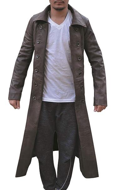 Amazon.com: So Shway - Chaqueta larga para hombre, piel ...