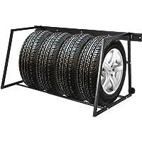 Vislone Foldable Tyre Rack Tyre Stands Silver Galvanised Steel Adjustable Width 81 cm-122 cm
