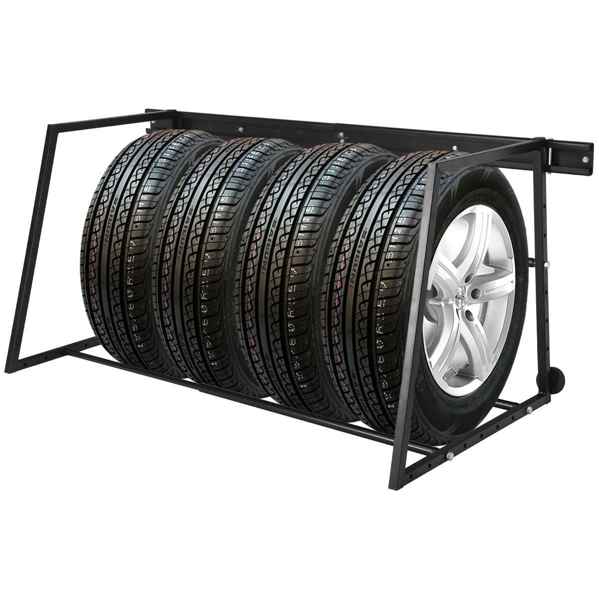 Costway Tyre Wheel Rack Car Truck Tire Storage Garage Wall Mounted Heavy Duty Steel Workshop 180KG 49472LT