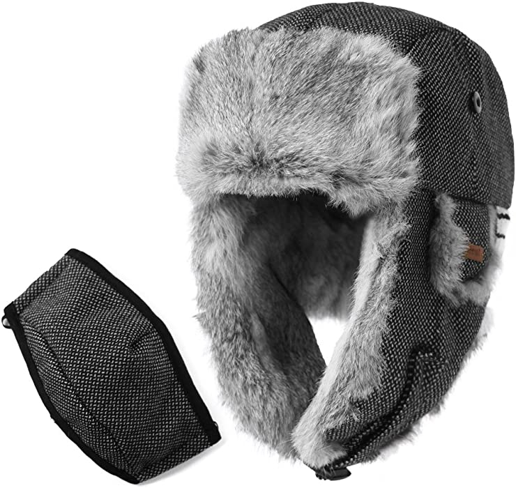 55c346f15 SIGGI 100% Rabbit Fur Earflaps Trapper Hat Wool Blend Russian Hat w ...