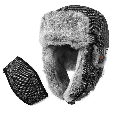 "de3180bb864552 Mens Womens 29% Wool Rabbit Fur Winter Hunting Mask Bomber Trapper Flaps Cap  24"""