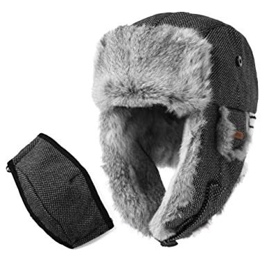 SIGGI Rabbit Fur Trapper Hat Aviator Earflap Hat Wool Winter Hat for Men  with Mask Pilot 830cbfc2e7b