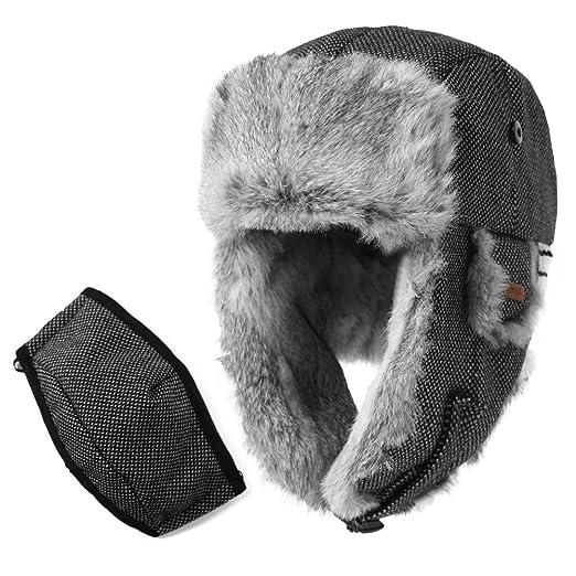 e593b2857f1 SIGGI Rabbit Fur Trapper Hat Aviator Earflap Hat Wool Winter Hat for Men  with Mask Pilot