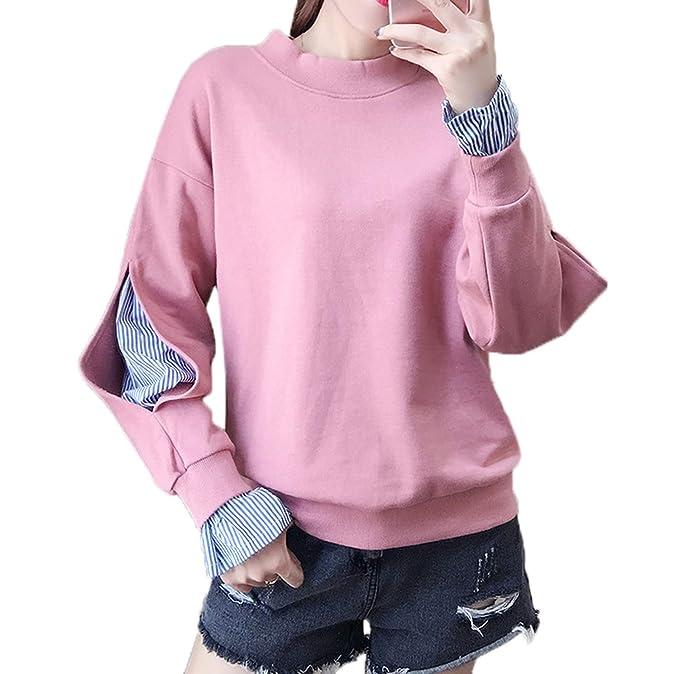 Simple-Fashion Primavera y Otoño Mujeres Talla Grande Sudaderas Casual Patchwork T-Shirt Tops Blouses Jerséis Joven Moda Cuello Redondo Manga Larga ...