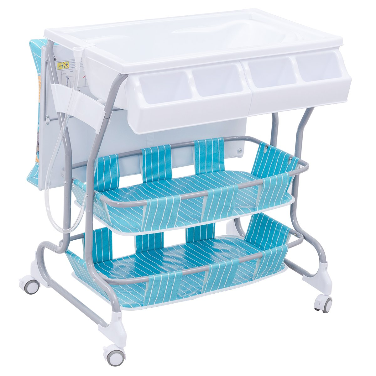 Blue Costway 2 in 1 Infant Changing Table Baby Bath Tub Unit Rolling Station Storage Dresser
