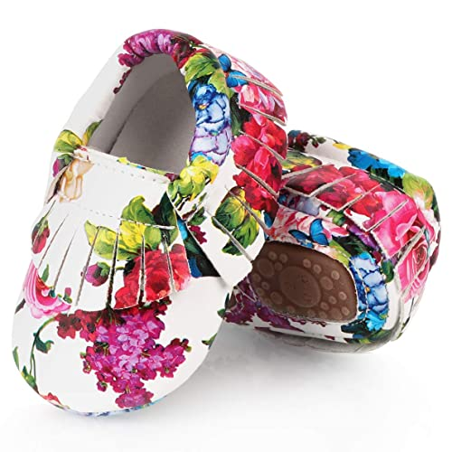 dc89086942008 UniBaby7 Baby Girl Shoes Soft Sole Walking Shoes with Tassels Infant  Prewalker Rose Print Flower Crib Shoes for 3 3.5 4 4.5 5 5.5 6 6.5 M  Toddler ...