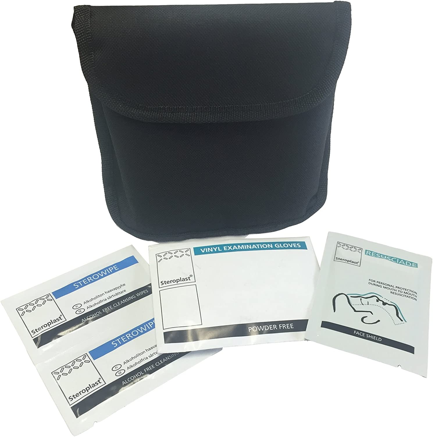Steroplast PERSONAL RESUSCITATION TRAVEL FIRST AID DURABLE VELCRO ISOLADE KIT BLACK BELT POUCH