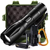 Tactical Led Flashlight, beegod Handheld Bright Led Torch Flashlights Rechargeable (Kit1)