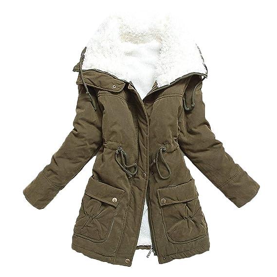 Damen Jacket Gemütlich Hübsch Warm Parker Herbst Mädchen Winter Dicken Samt  Mantel Einfarbig Apparel Langarm Mit 44092ee6f4