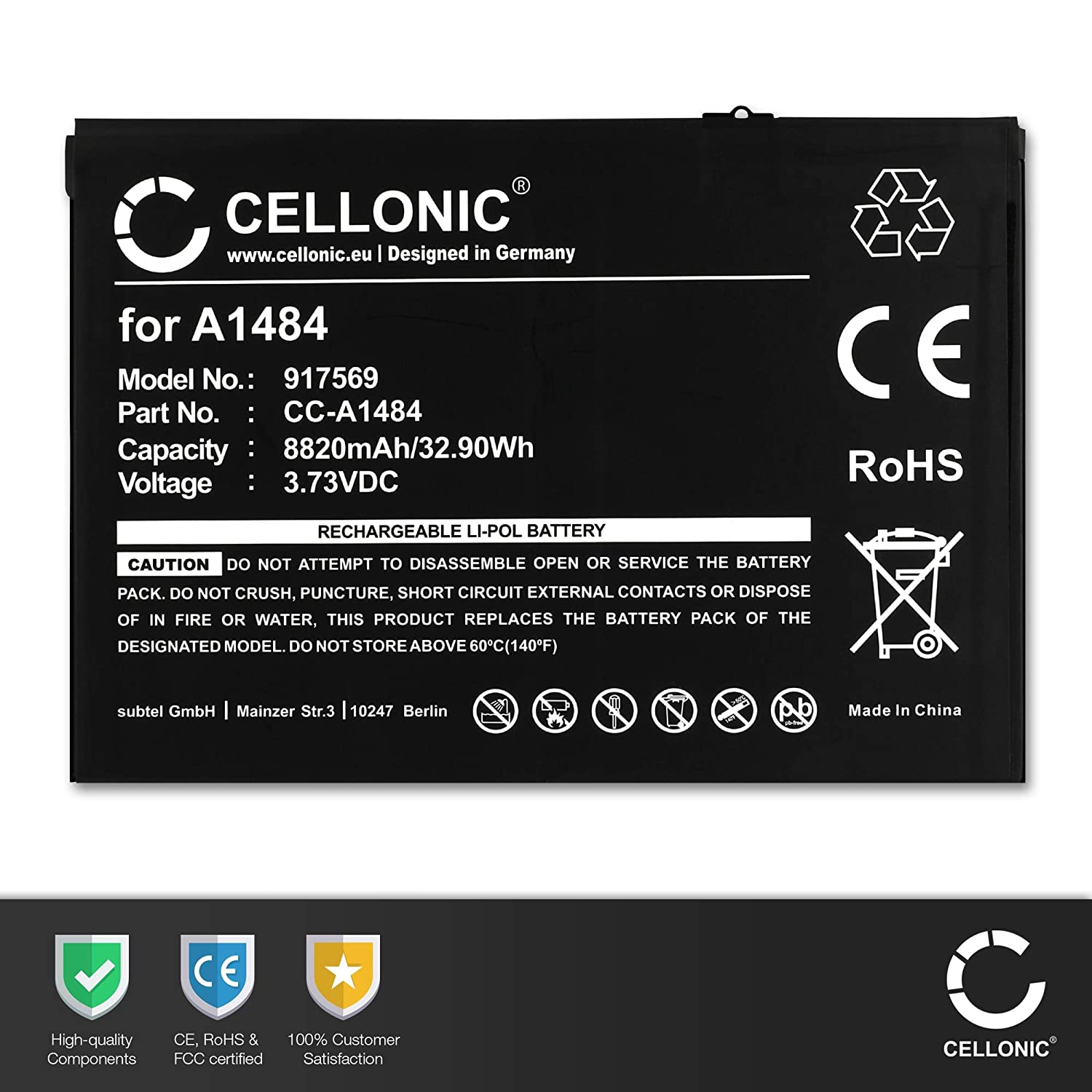 A1484 bateria de Repuesto CELLONIC/® Bater/ía Premium Compatible con iPad Air 1 // iPad 9.7 + Juego de destornilladore sustituci/ón Pila reemplazo 8820mAh 2017//2018