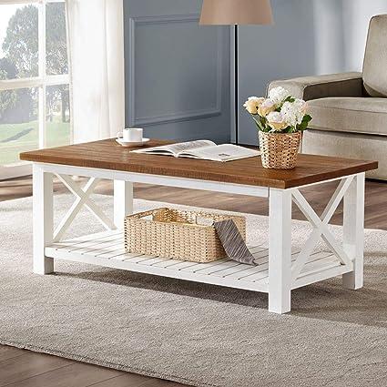 Amazon.com: FurniChoi Farmhouse Coffee Table, Wood Rustic Vintage ...