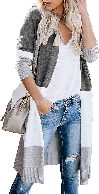 OWIN Women's Stripes Cardigan Color Surprise price Block Sweaters Fro overseas Open Coat
