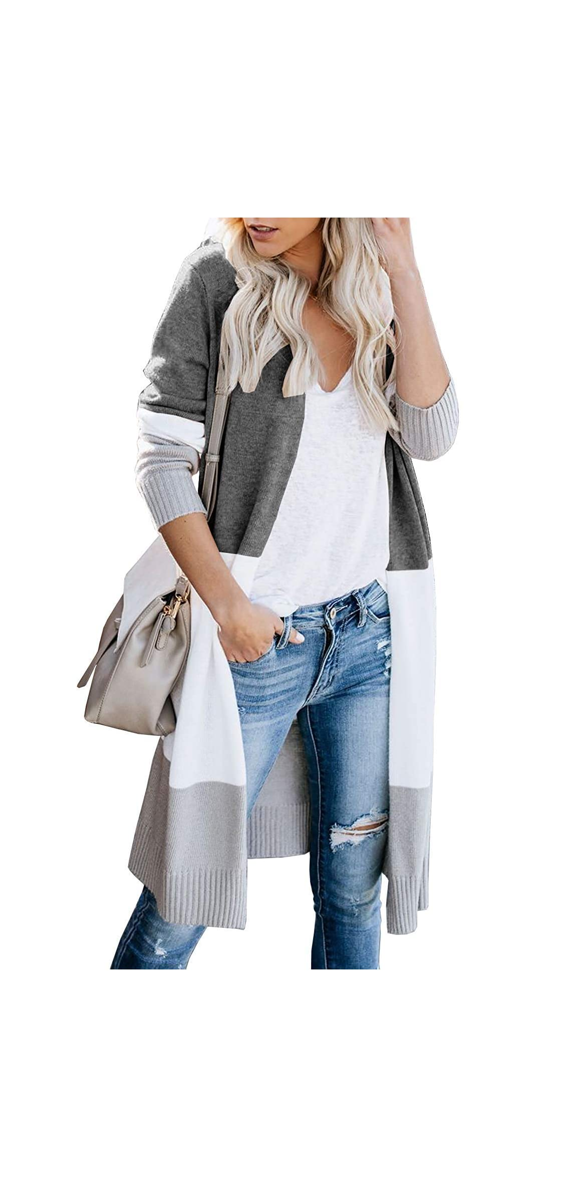 Womens Boho Open Front Cardigan Colorblock Long Sleeve