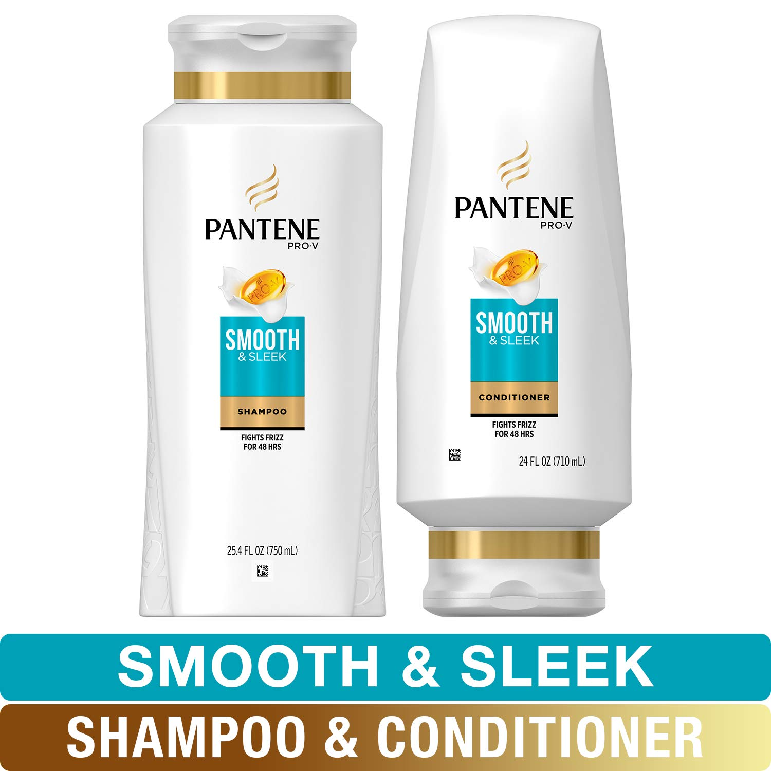 Pantene, Shampoo and Sulfate Free Conditioner Kit, with Argan Oil, Pro-V Smooth and Sleek for Dry Hair, 25.4 oz and 24 oz, Kit by Pantene