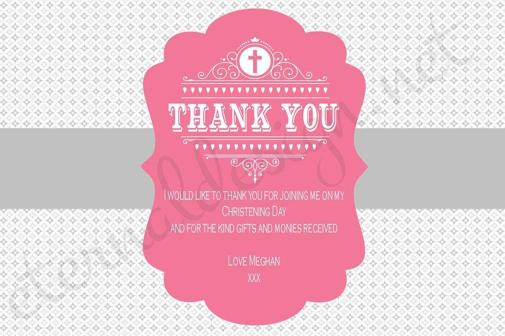 Tarjetas de agradecimiento personalizadas con diseño Eternal para bautizo CDTY 13