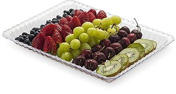 Bandejas de plástico para servir alimentos rectangulares y desechables, 4 unidades, 23