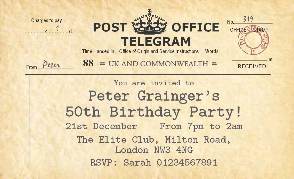 60 Personalised Magnetic Party Invitations - Vintage Telegram ...