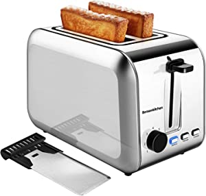 2 Slice Toasters, Bonsenkitchen Stainless Steel Wide Slot Bread Toaster with Defrost/Reheat/Cancel Function, 7 Brown Setting, Removable Crumb Tray, Auto Shut Off, 750 Watt, 120V