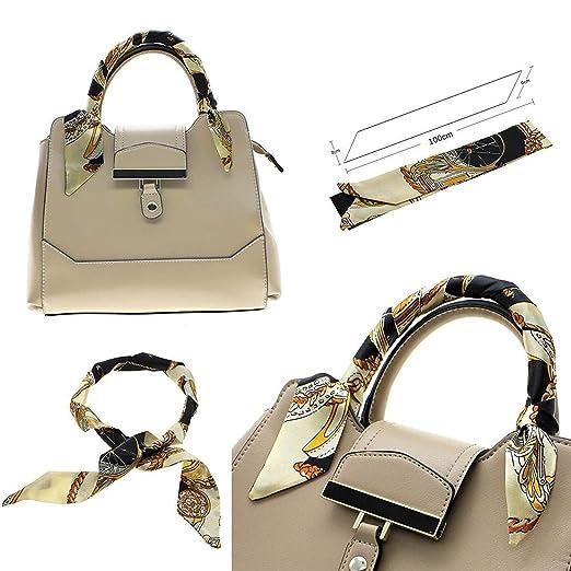 Fashion Lady Girl Twilly Silk Ribbon Buckle Scarf Decoration For Bag