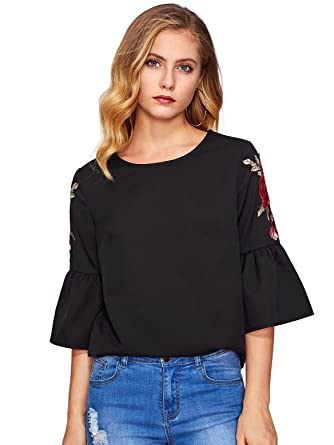 d9199bdfd5 Floerns Women s Floral Embroidery Loose Blouse Bell Sleeve Top Black Rose XS