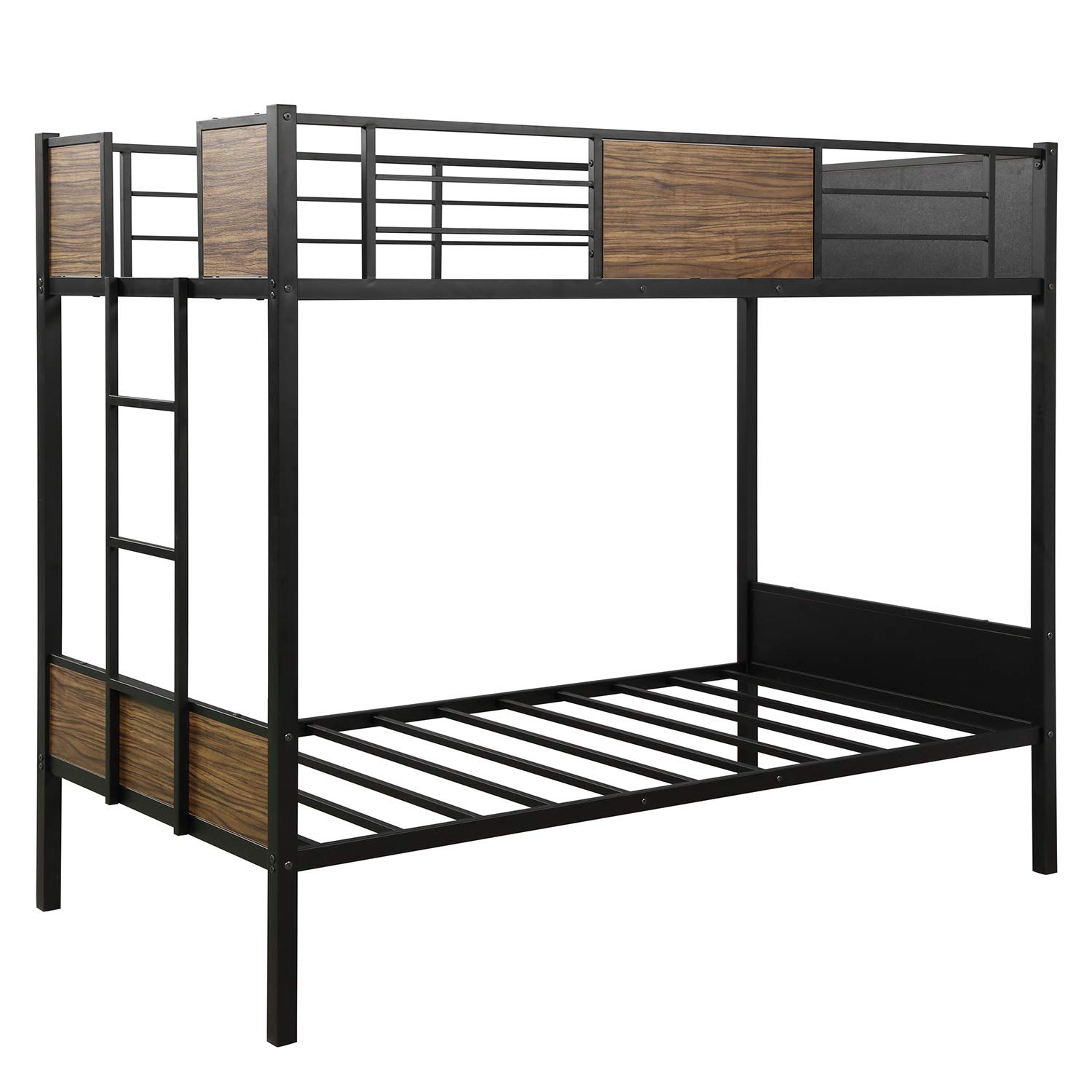 Recaceik Twin Bunk Bed,Full Steel Metal Frame Living with Ladder and Safety Rails, Brown