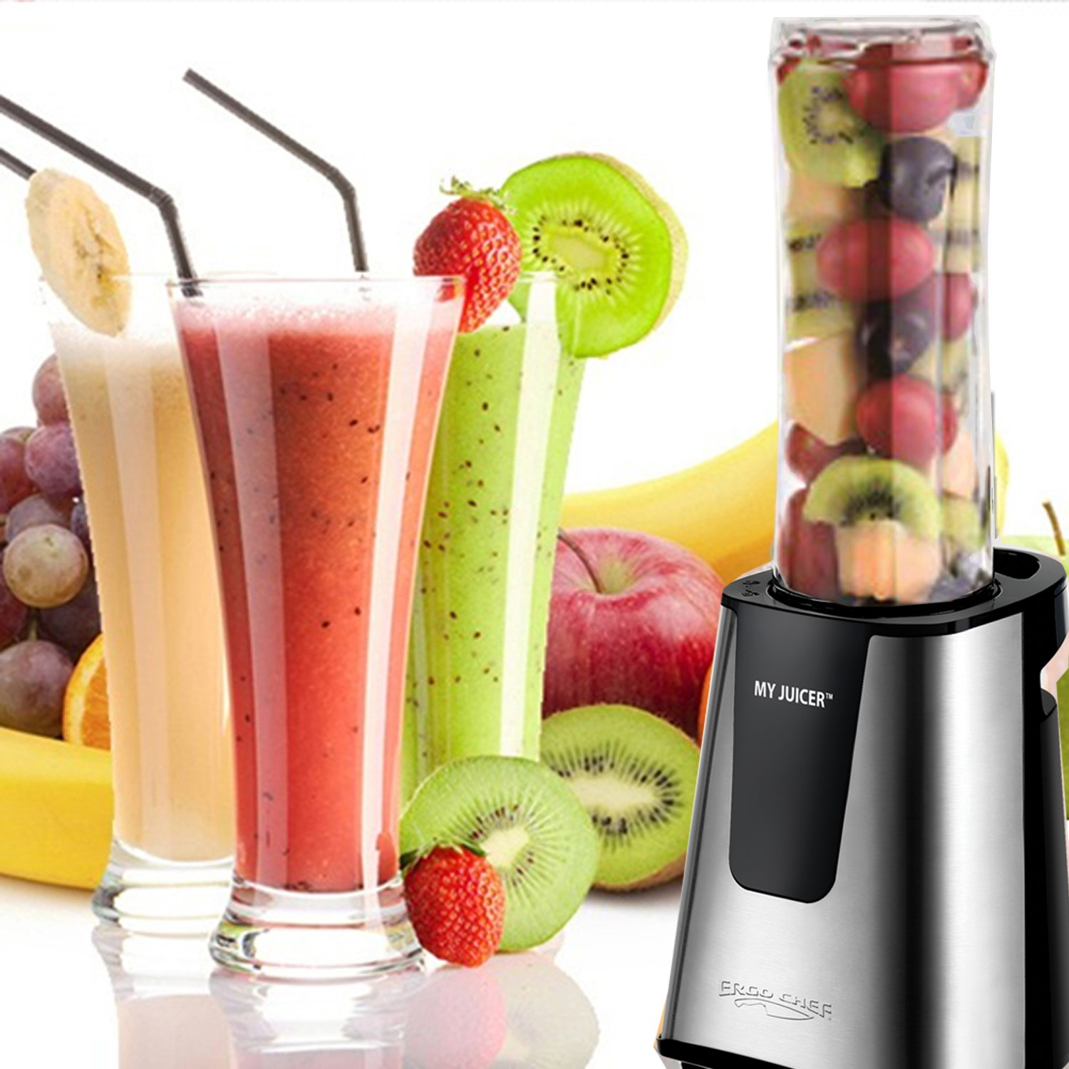 Ergo Chef My Juicer II Personal Juicer Smoothie Blender 300-Watt Stainless Steel by Ergo Chef   B01GUE7YKS