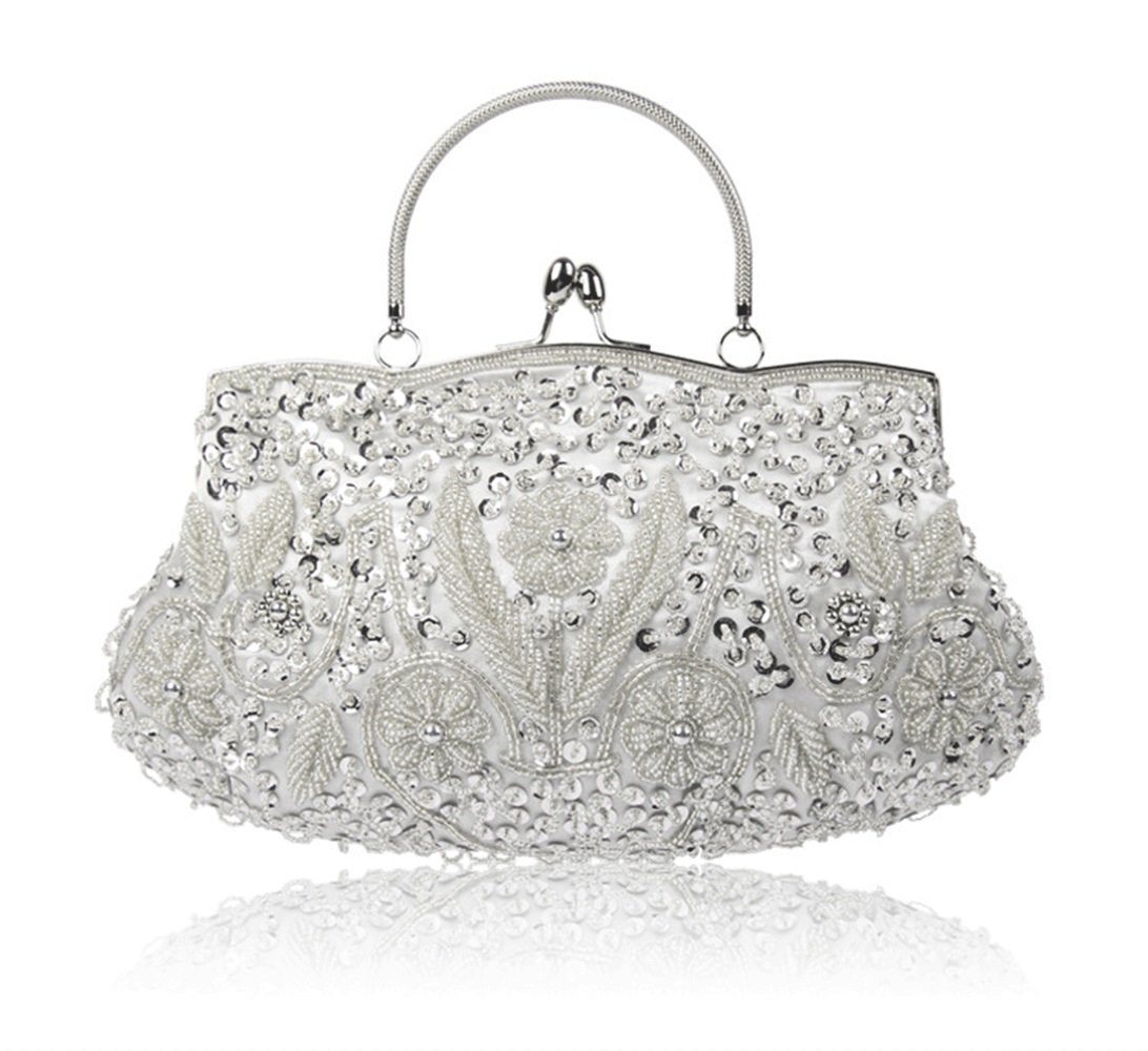 YX Women's Vintage Style Beaded with Sequined Metal Frame Kissing Lock Handbag for Evening & Wedding & Party ( Color : White , Size : One size )