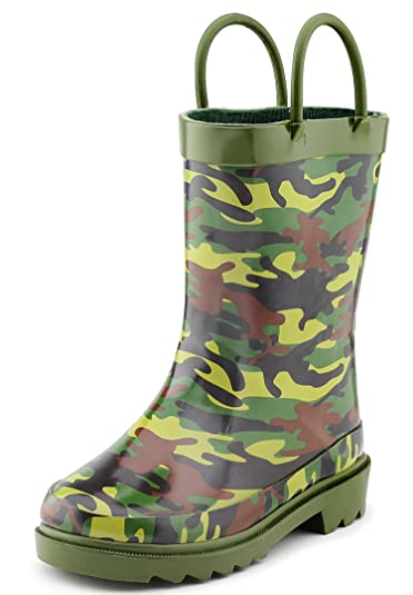 cc63bbcc3dfa5 Amazon.com | Puddle Play Camouflage Boys Green Rubber Waterproof Rain Boots  (Toddler/Little Kids) | Boots
