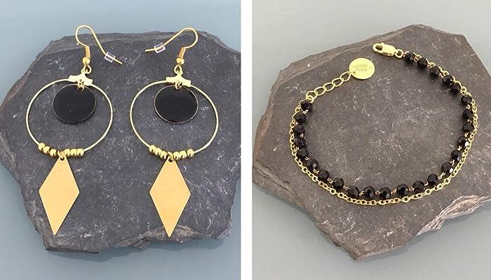 Adorno de la pulsera de oro y criollos de acero inoxidable ...