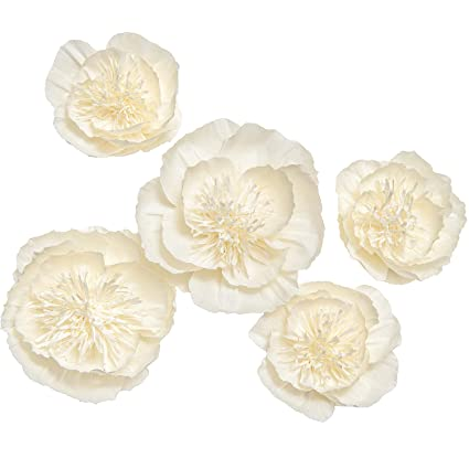 Amazon lings moment large paper flowers 5 x cream white peony lings moment large paper flowers 5 x cream white peony flowers paper flower decorations mightylinksfo