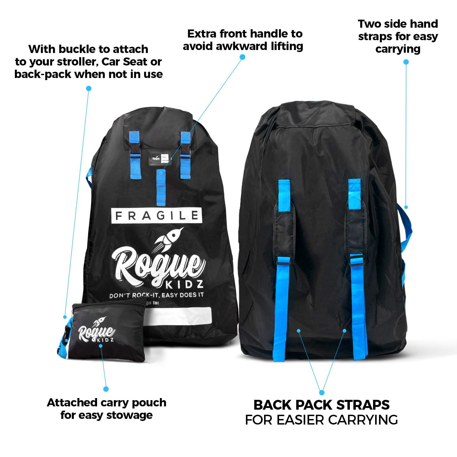 Rogue Kidz Single and Double Stroller Travel Bag For Airplane Gate Check - Durable Universal Large XL Cover With Padded Backpack Straps- Waterproof Heavy Duty Nylon Traveling Protector With Carry Case by Rogue Kidz (Image #4)