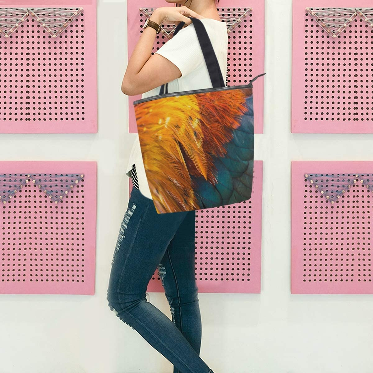 Colorful Bird Feathers Canvas Tote Bag for Women Work 11/×4/×13.6 in School Shopping High-capacity Canvas Handbag Shoulder Bag for Travel