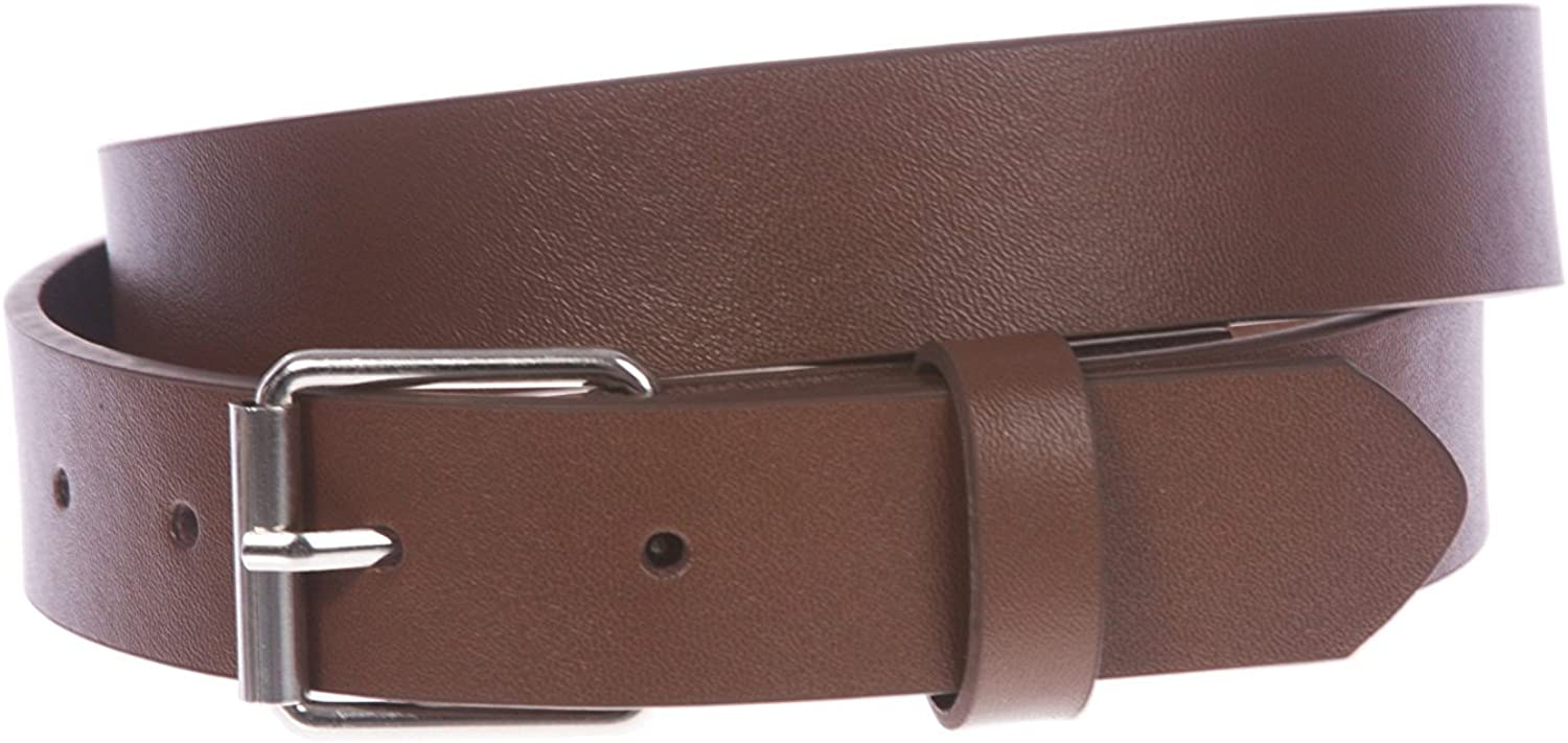 BBBelts Boys 1 Solid Brown Genuine Synthetic Leather Snap On Roller Buckle Belt