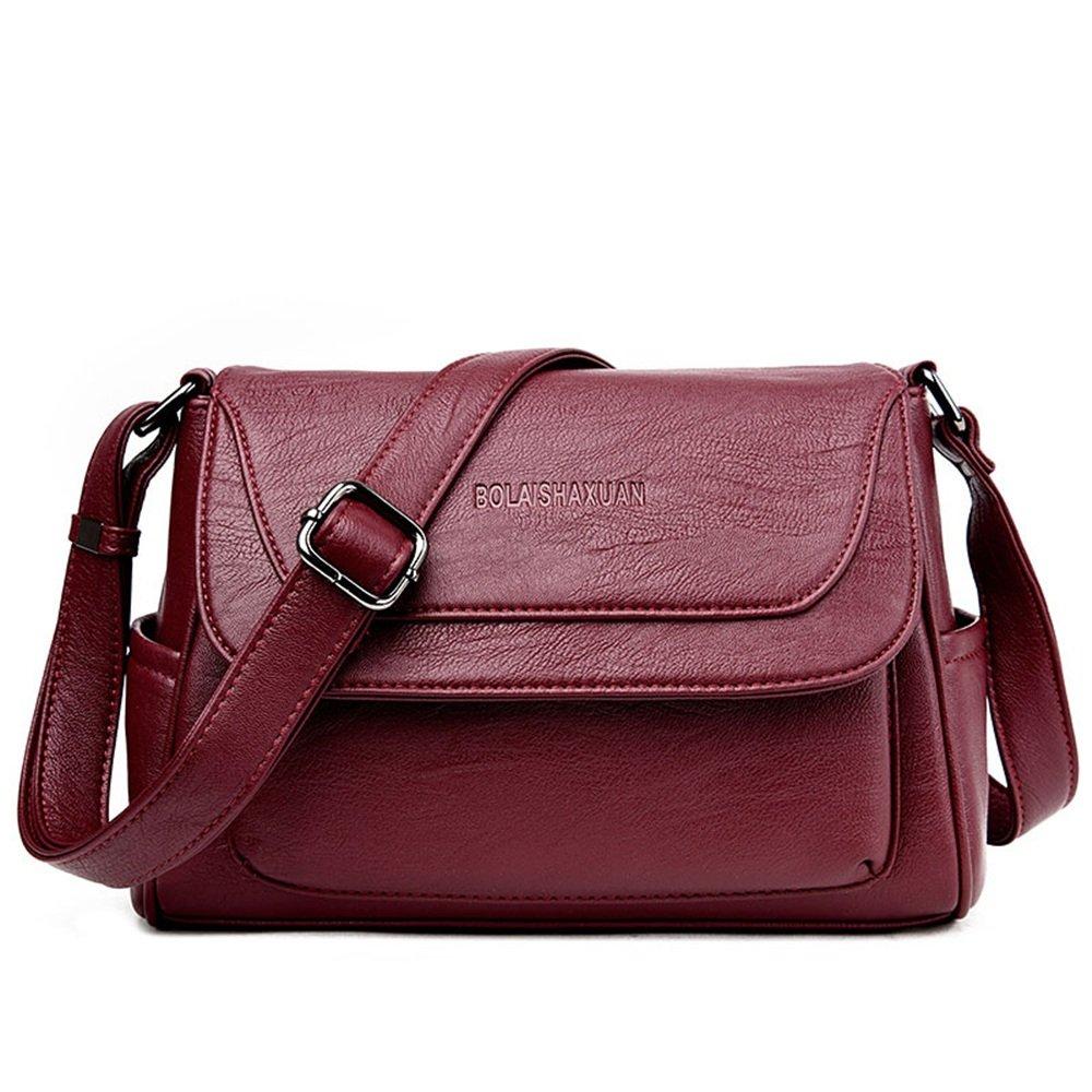 Burgundy Sunmiao Simple Casual Magnetic Buckle Large-Capacity Square PU Shoulder Bag Messenger Bag