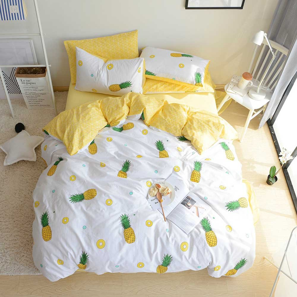 VClife Queen Duvet Cover Sets Cotton Bedding Duvet Cover with 2 Pillow Shams Yellow Pineapple Printed Comforter Cover Sets Modern Reversible Diamond Bed Sets by for Guest Room Bedroom, 90 by 90 inch